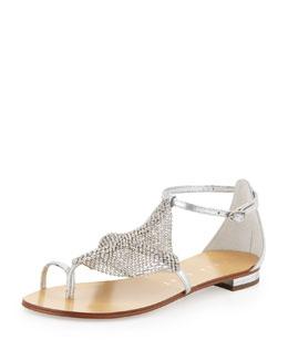 Lola Cruz Rhinestone Mesh Toe-Ring Sandal