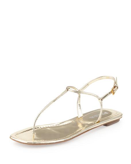 Metallic Flat Thong Sandal, Pyrite
