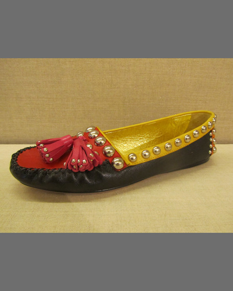 Flat Embellished Tassel Moccasin, Nero/Rosso