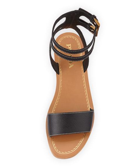 Saffiano Double-Buckle City Sandal, Black