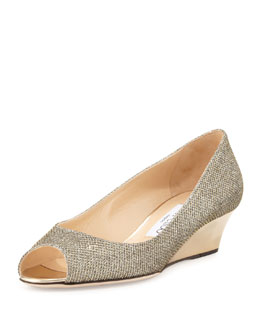 Jimmy Choo Bergen Glitter Wedge Pump, Light Bronze