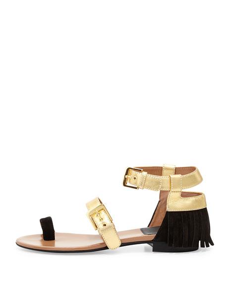 Fifi Belted Flat Fringe Sandal, Gold