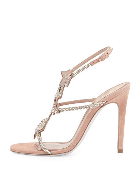 Crystal Halter Suede Sandal, Rose