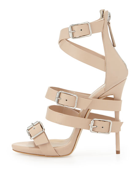 Wrap-Around Buckle Strap Sandal, Nude