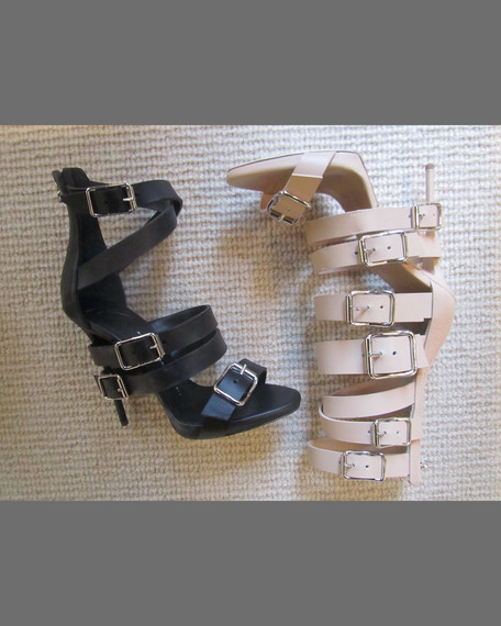 Wrap-Around Buckle Strap Sandal, Nude