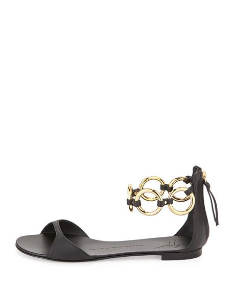 Link Ankle-Strap Flat Sandal, Black