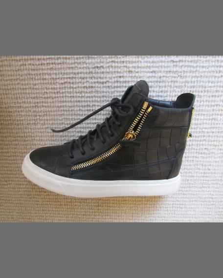 Croc-Embossed Leather High-Top Sneaker