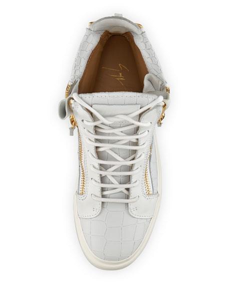 Alligator-Embossed Zipper High-Top Sneaker