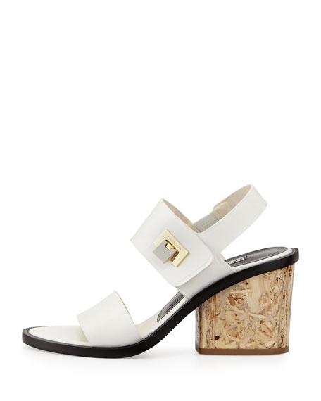 Calfskin Flip-Lock Wood-Heel Sandal, White