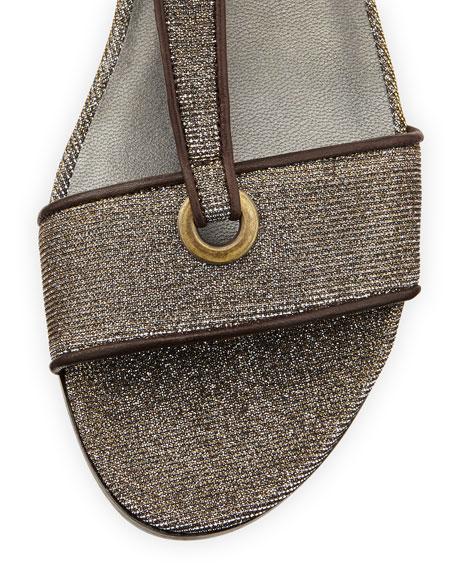 Artsy Glitter Fabric Flat T-Strap Sandal, Pyrite