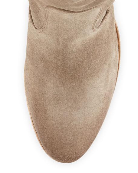 Chiara Slouchy Suede Ankle Boot, Khaki