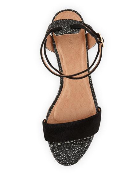 Edeline Stingray-Print Sandal, Black
