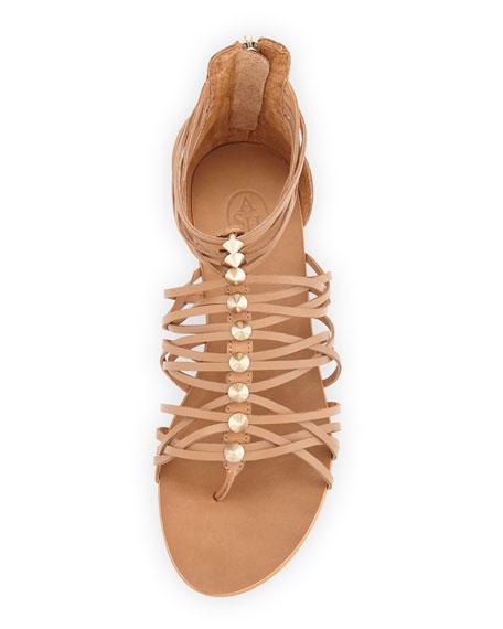 Mani Strappy Leather Sandal, Tan