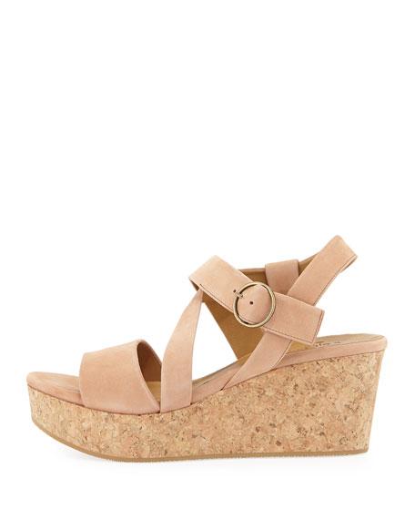 Mel Strappy Cork Wedge Sandal, Natural