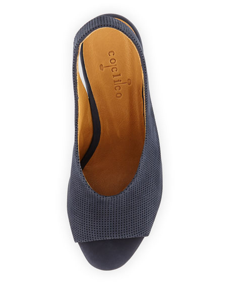 Nells Perforated Wedge Sandal, Navy
