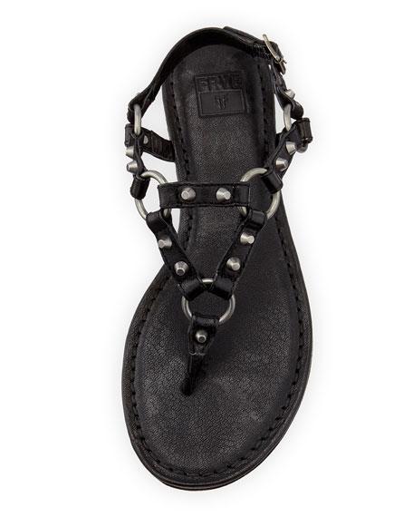 Carson Rivet Leather Thong Sandal, Black