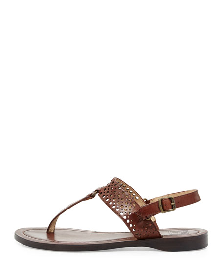 Rachel Perforated Leather Flat Slingback Thong Sandal, Brown