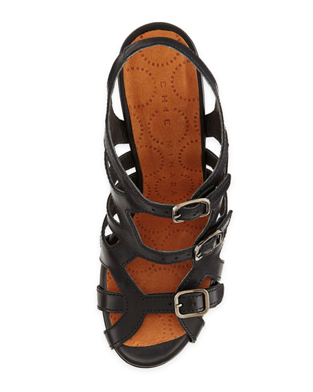 Ania Leather Cage Sandal, Black