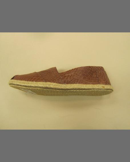 Snake-Print Leather Slip-On, Cream