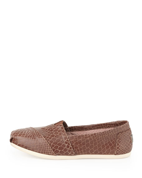 Snake-Print Leather Slip-On, Brown