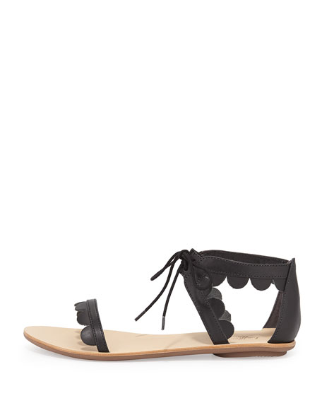 Marmy Scalloped Leather Sandal, Black