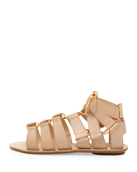 Skye Leather Gladiator Sandal, Nude