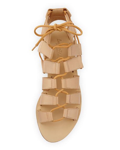 Skye Leather Gladiator Sandal, Nude