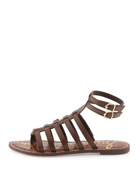 Gilda Flat Leather Gladiator Sandal, Dark Chocolate