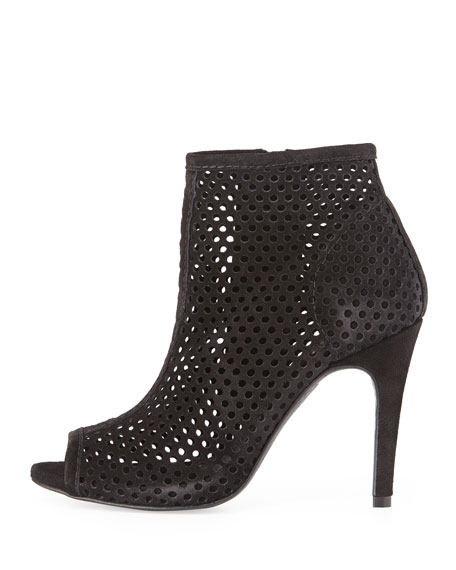 Sylvana Perforated Peep-Toe Bootie