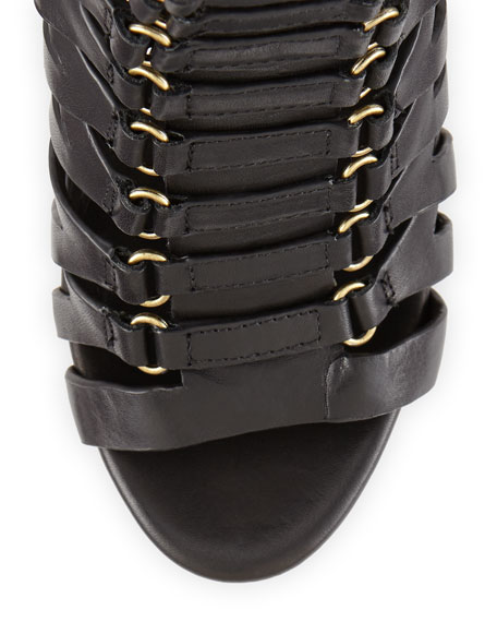 Eaden Caged Leather Ankle Boot, Black