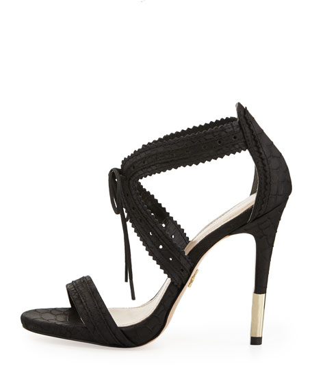 Shanna Snake-Embossed Leather Lace-Front Sandal, Black