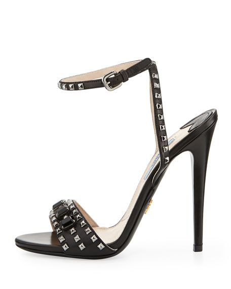 Studded Jewel-Strap Leather Sandal, Nero (Black)