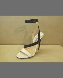 Prada Bicolor Asymmetric Leather Sandal, Black/White