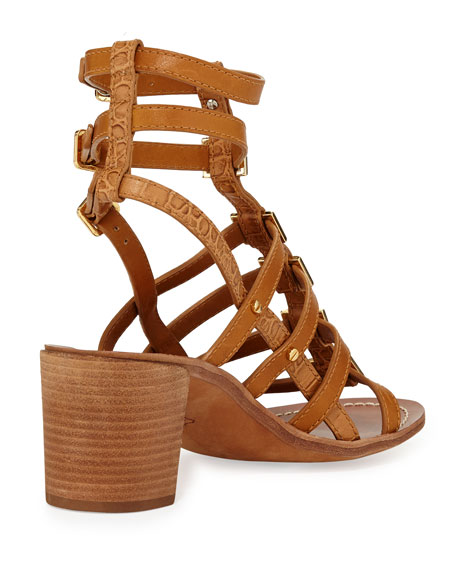 Reggie Leather Gladiator Sandal, Tan