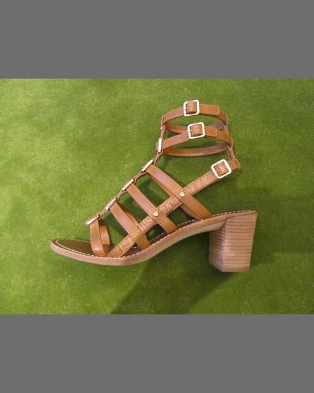 Reggie Leather Gladiator Sandal, Tan