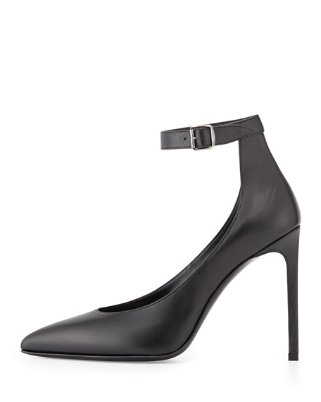 Leather Ankle-Strap Pump, Black