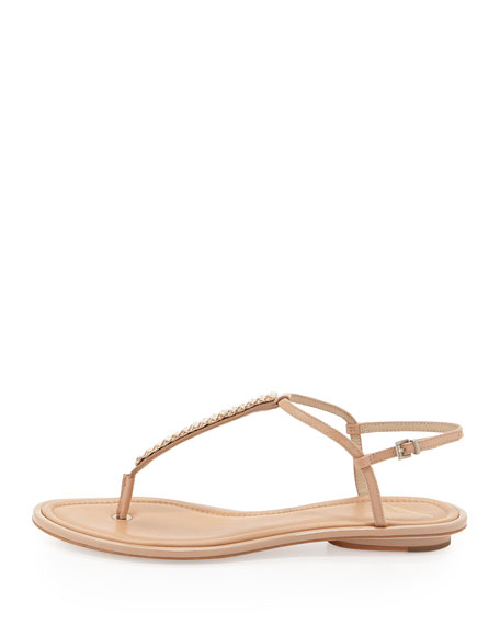 Callas Leather T-Strap Sandal, Nude