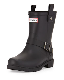 Hunter Boot Shoreditch Motorcycle Short Welly Boot, Black