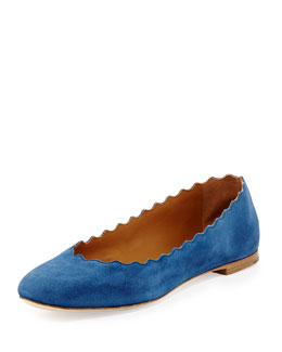 Chloe Scalloped Suede Ballerina Flat, Royal