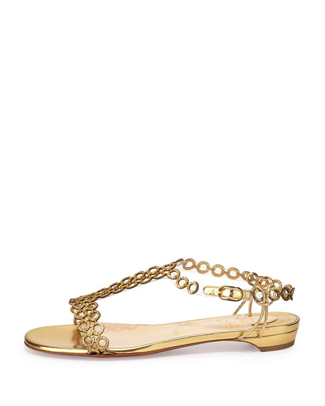 Flatmalama Chain Red Sole Sandal, Gold
