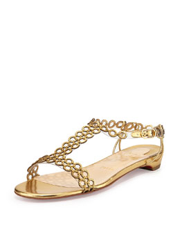Christian Louboutin Flatmalama Chain Red Sole Sandal, Gold