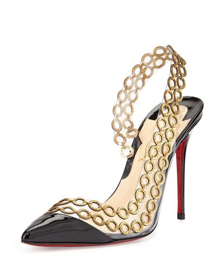 Malaika Chain Red Sole Slingback, Black/Gold