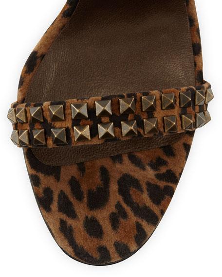Harley Leopard-Print Studded Suede Slide Sandal