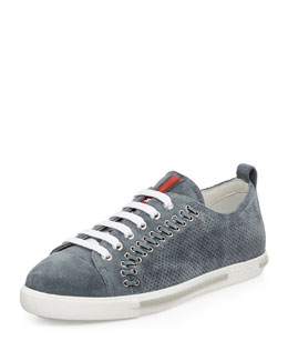 Prada Linea Rossa Lace-Up Suede Sneaker with Rivets