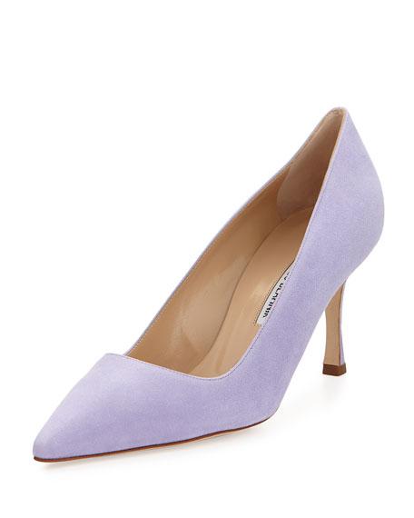 BB Mid-Heel Suede Pointy Pump, Lavender