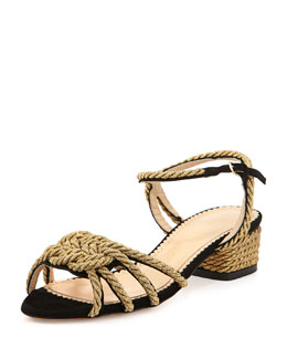 Charlotte Olympia It's Knot You, It's Me Rope Trimmed Ankle-Wrap Sandal