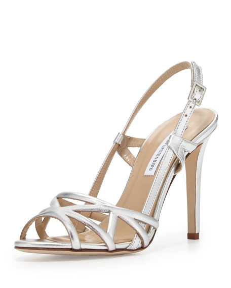 Upton Metallic Leather Sandal, Silver