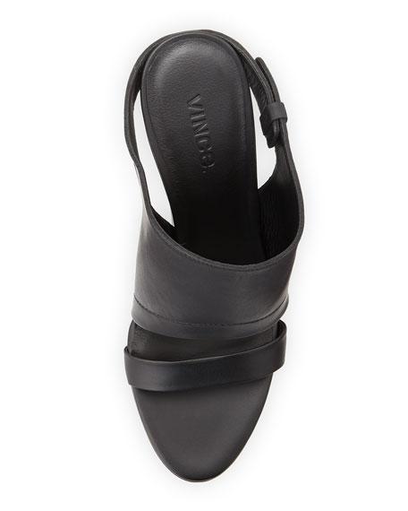 Kasia Leather Wedge Slide Sandal, Black