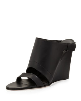 Vince Kasia Leather Wedge Slide Sandal, Black