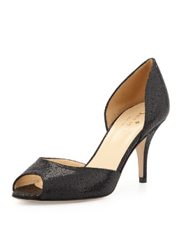 kate spade new york sage glitter peep-toe d'orsay pump, black